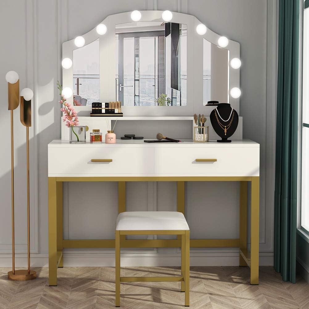 Lighted Makeup Vanity Table Set